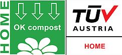 TUV certification logo for home compostable plastics