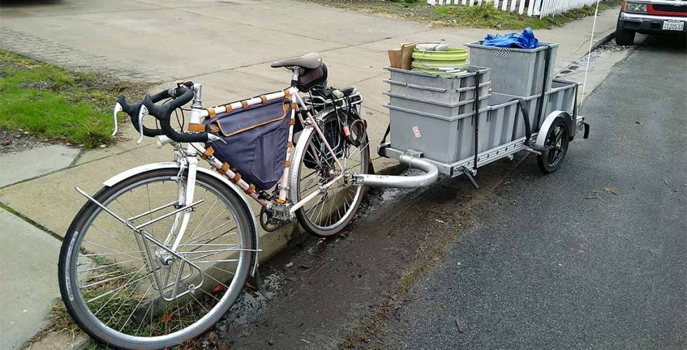 Bike and trailer for hauling compost containers